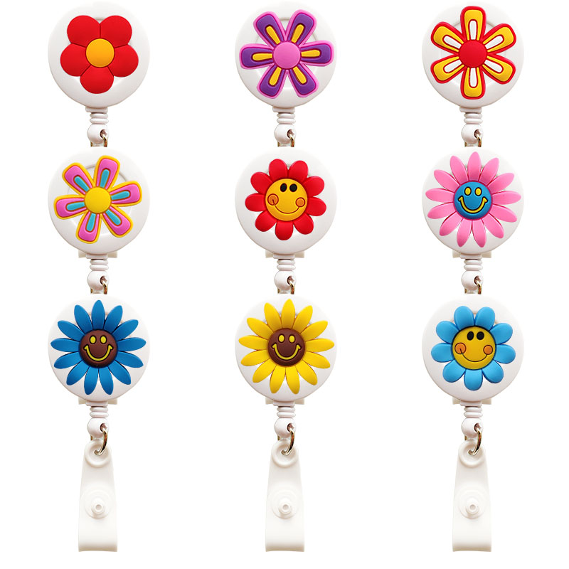 New Flower Nursing Retractable Badge Holder Daisy Nurse Badge Holder Hospital Office Badge Reel Retractable For Work Badge Clip