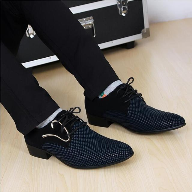 2017 New fashion lace-up Color matching Men suit Dress Shoes Office Men's pointed Leather shoes Male Business Shoes men flats