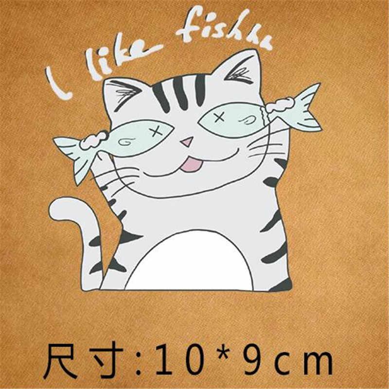 Nette PVC Patch deal mit es Kleidung Wärme Transfer Druck Katze Wie Fisch T shirt mädchen eisen auf patches für kleidung frauen Aufkleber