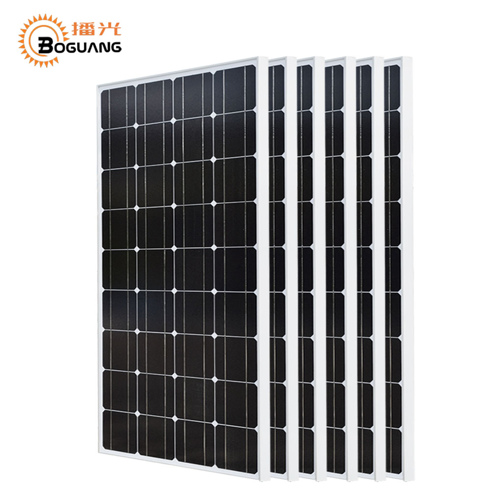 Boguang 600w solar system kit 6*100w solar panel Monocrystalline silicon cell photovoltaic module for home roof Power generation 100pcs 156 58 5mm mono solar cell kits monocrystalline photovoltaic silicon solar cells high efficiency 6x2 for diy solar panel