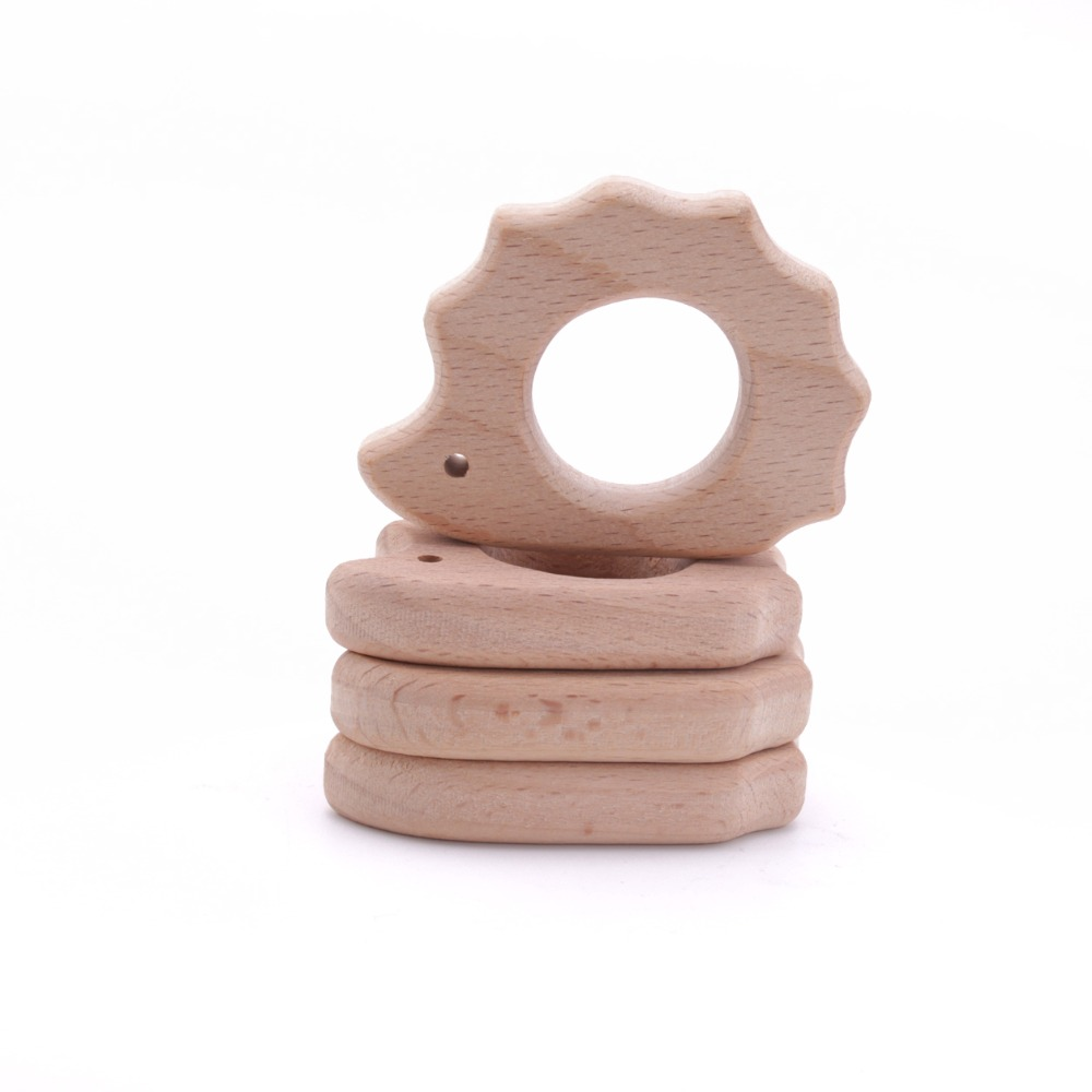 10pc DIY Bracelet Pendant Accesory For Mom Charms Food Grade Wooden Beech Wood Hedgehog BPA Free Inspired Baby Toys Teethers