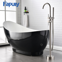 Fapully Nickel Brushed Floor Standing Bathtub Faucet Set Bathroom Mixer Tap with Hand Spray Shower Mixer Taps brushed nickel waterfall bath shower tub faucet one handle with hand shower brushed nickel finished