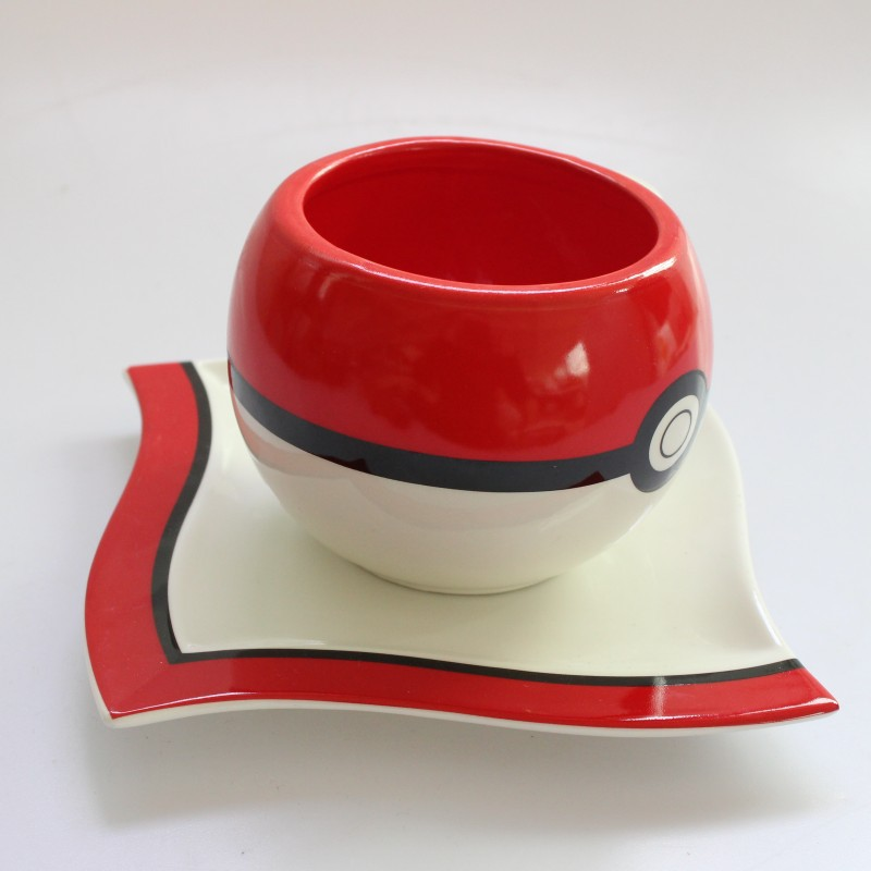 Drop shipping Pokemon Poke Ball mug and plate Handgrip Ceramic Water Milk Tea Coffee Mug Cup