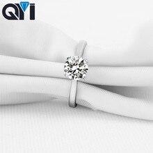 QYI เครื่องประดับ 925 แหวนเงิน Solitaire 6mm 1CT รอบตัด CUT Sona CZ แหวนแต่งงานผู้หญิงของขวัญ