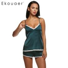 Ekouaer Women Clothes For Summer Shorts Sets V-Neck Sleepwear Satin Pajama Women's Pajamas Spaghetti Strap Lace Sexy Pajama Set