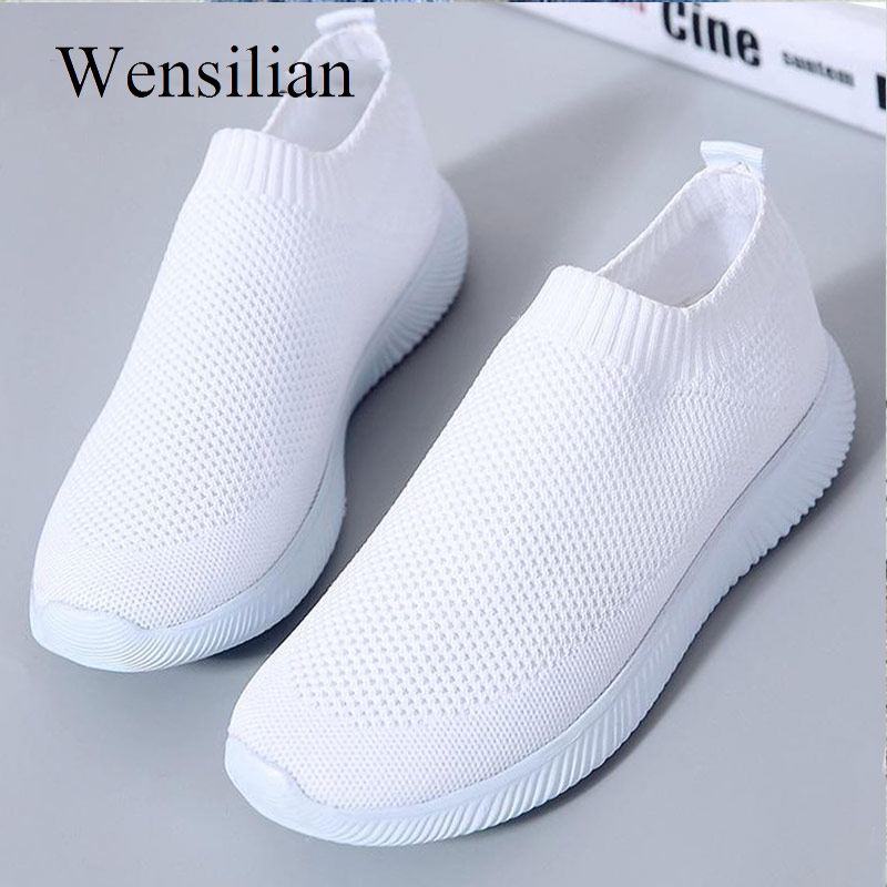 Women Sneakers Sock Shoes Trainers White Sneakers Knitted Vulcanized Shoes Mesh Slip On Tenis Feminino Flat Chaussures Femme