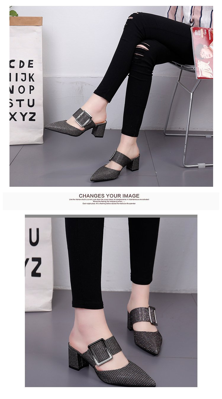 2019spring New Thick with Muller Shoes Women's High Heels Pointed Belt Buckle Back Air Slippers Elegant Temperament Baotou 8
