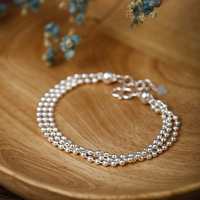 S990 silver beads bracelet female Europe and the United States contracted the department of 3 layers of anti allergy joss chain