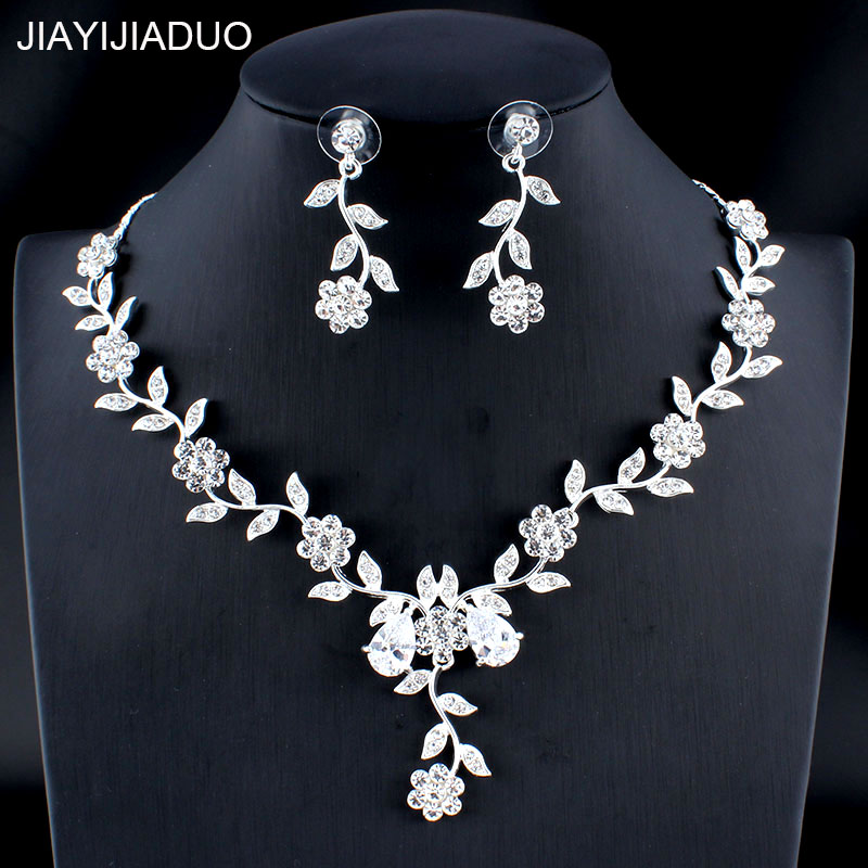 jiayijiaduo Glamour Women's Wedding Jewelry Set Silver/Gold Color Zircon Flower Necklace Earrings Set Girl Accessories Gift 023