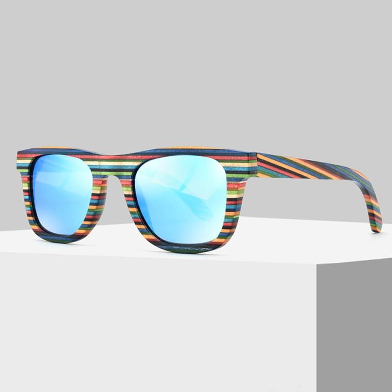 Mode färgglada regnbåge trä polariserade solglasögon ram UV400 solkläder polariserar solkläder för män och kvinnor spegelbeläggning lins