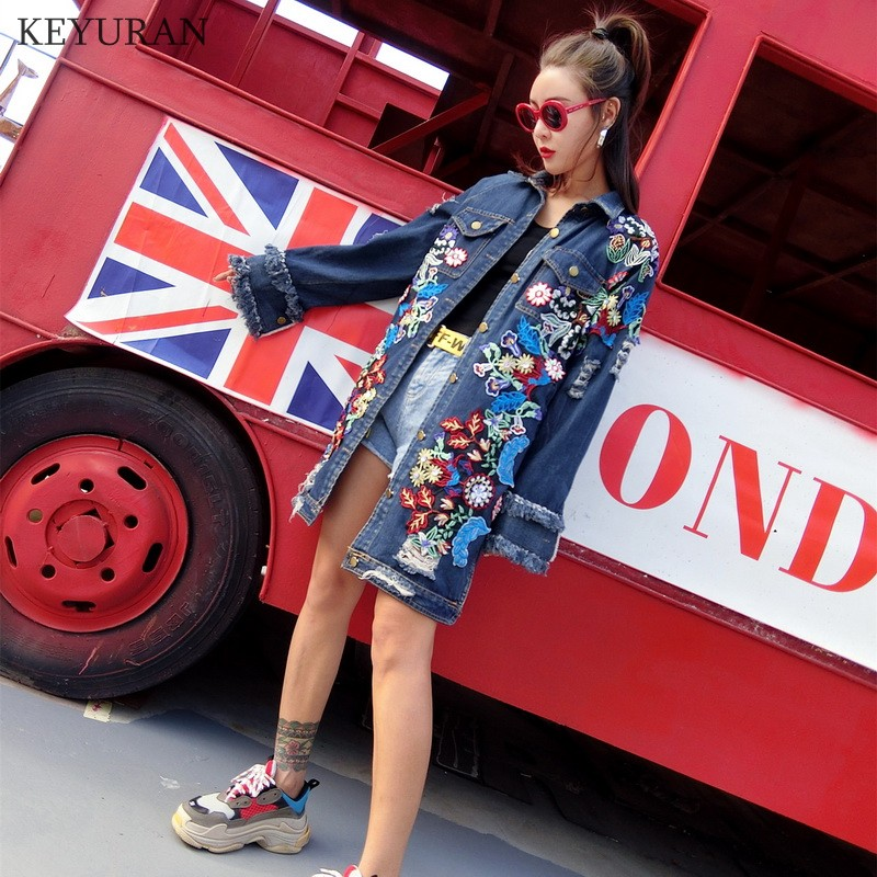 Street Fashion Women Autumn Winter Long Denim Jacket Women s Cotton Long Sleeve Embroidery Female Loose