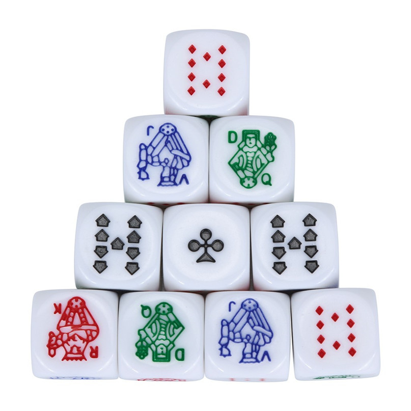 10pcs / Set For Game Polyhedral Multi Sided Acrylic Poker Dice About 1.6cm For Entertainment #2h07