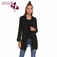 ACEVOG Women Chiffon Cardigan Lapel Collar Long Sleeve Lace Patchwork Spring Autumn Casual Coats With Belt