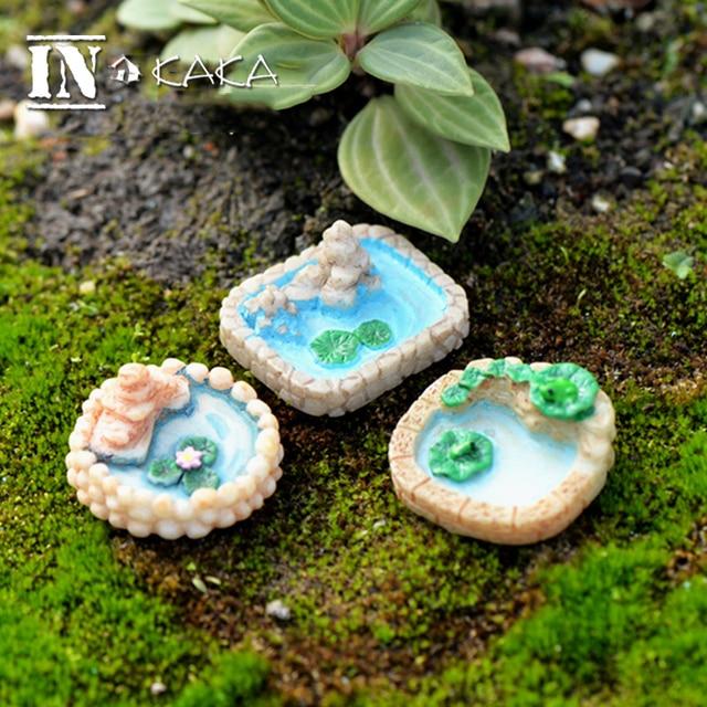 Incroyable Resin Mini Lotus Pond With Hill Micro Fairy Garden Figurines  Miniatures/Terrarium Dollhouse Decor Ornaments