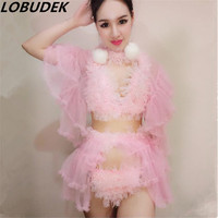 2016 Female Costume Sexy Bar DS Valentine S Day Female Singer DJ Performance Service Pink White