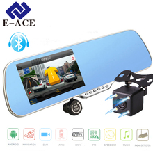 E-ACE Coche Dvr Espejo Bluetooth Navegador GPS Auto Cámara de Visión Trasera 5 Pulgadas IPS Android Registrador Video de Dos Cámaras Visión nocturna