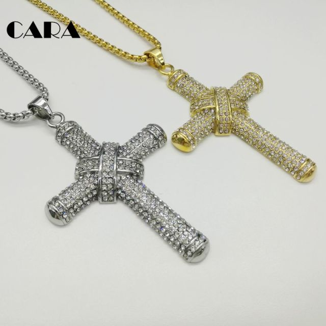 Cara new gold color 316l stainless steel cross necklace bling bling cara new gold color 316l stainless steel cross necklace bling bling luxury full cz stones cross aloadofball Images