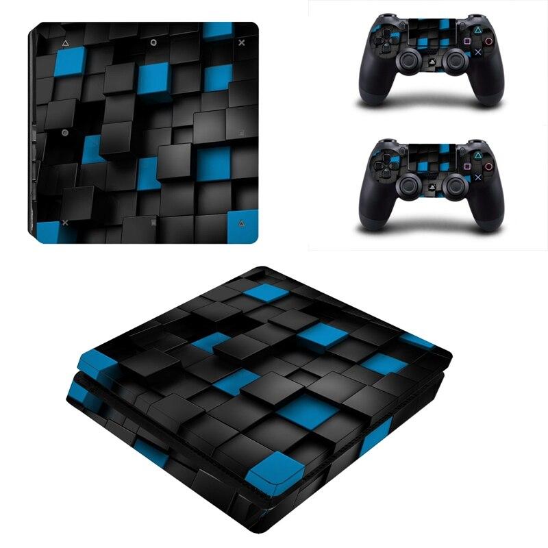 HOMEREALLY PS4 Peau Mince Bleu Noir Boîte PVC Autocollant Couverture pour Playstation 4 Slim Console et Contrôleur PS4 de La Peau Mince accessoire