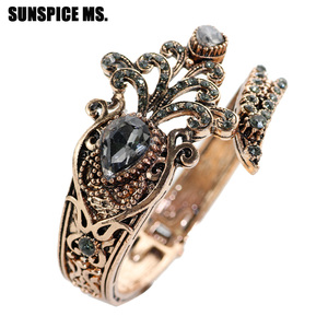 SUNSPICEMS Retro Vintage Turkish Women Flower Bangle Antique Gold Color Spring Cuff Bracelets Indian Gray Stone Wedding Jewelry