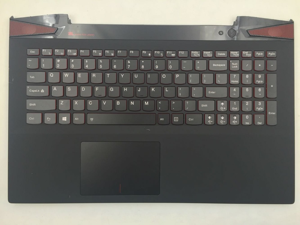 Used Original Palmrest with US Backlight Keyboard for Lenovo IdeaPad Y50 Y50-70 KB Bezel Upper Cover with TouchPad AP14R000A00 laptop palmrest keyboard for lenovo for thinkpad s3 s431 s440 s431 us gr uk touchpad original mp 12n63 keyboard bezel cover