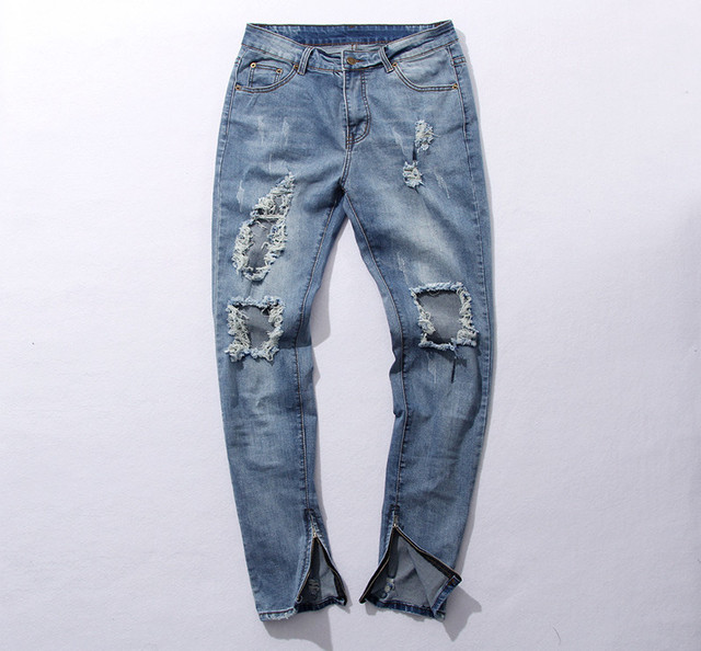 97eed73231e Kpop Тощий Ripped корейской Хип-Хоп Мода Брюки Прохладный Мужская городской  Одежды Комбинезон мужские джинсы