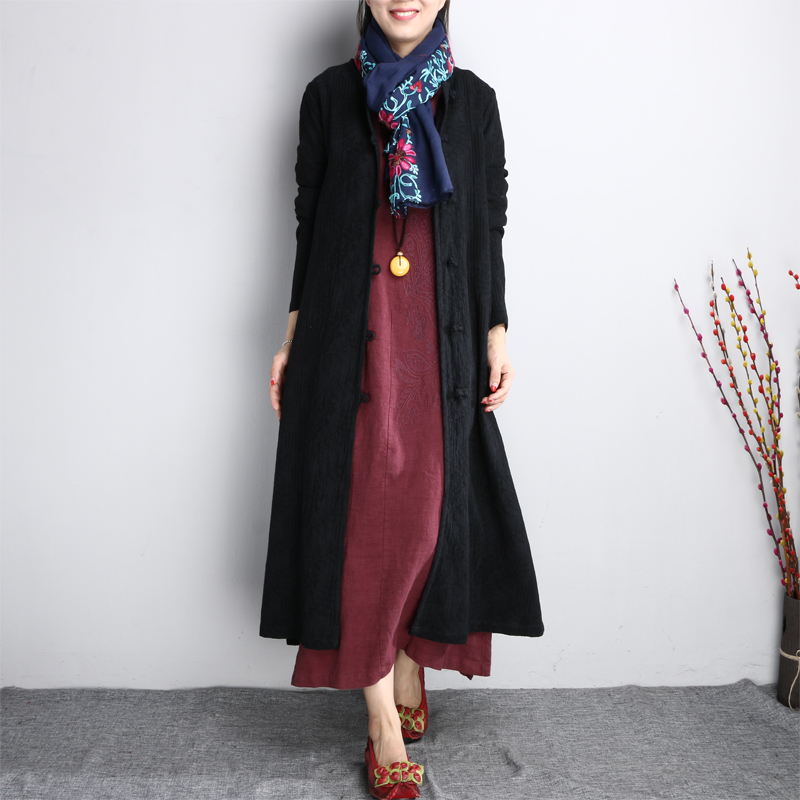 2019 new women linen coats casual   trench   long sleeve vintage embroidery open stitch loose chinese style   trench