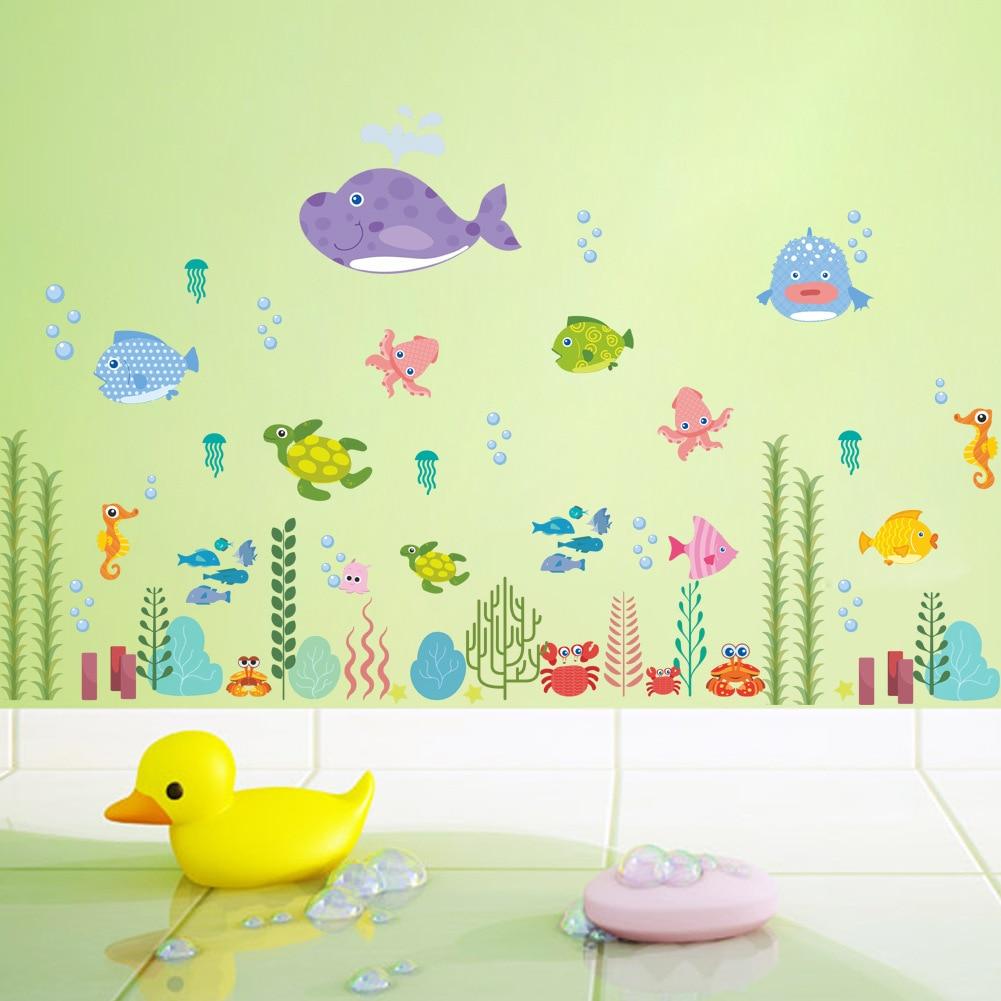 Cartoon underwater Sea Fish Wall Stickers Childrens Room Kids Room Bathroom Decals Bathroom Nursery Toilet Sticker Art Mural