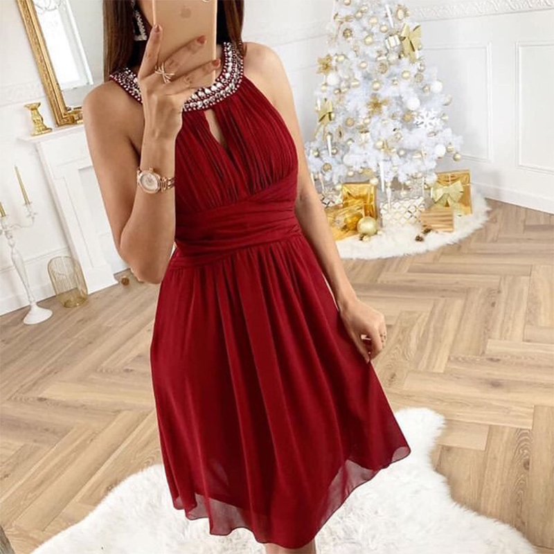 Halter Neck Pleats Chiffon Short   Cocktail   Party   Dresses   Custom Made Diamonds Sexy Formal Party   Dress   Above Knee   Cocktail     Dresses