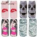 2017 Nueva Divertido 3D Impreso Pintura Arte EUR35-40 de Corte Bajo de Tobillo en Barco Calcetines de Dibujos Animados Calcetines de Las Mujeres Unisex Estilo Harajuku femme