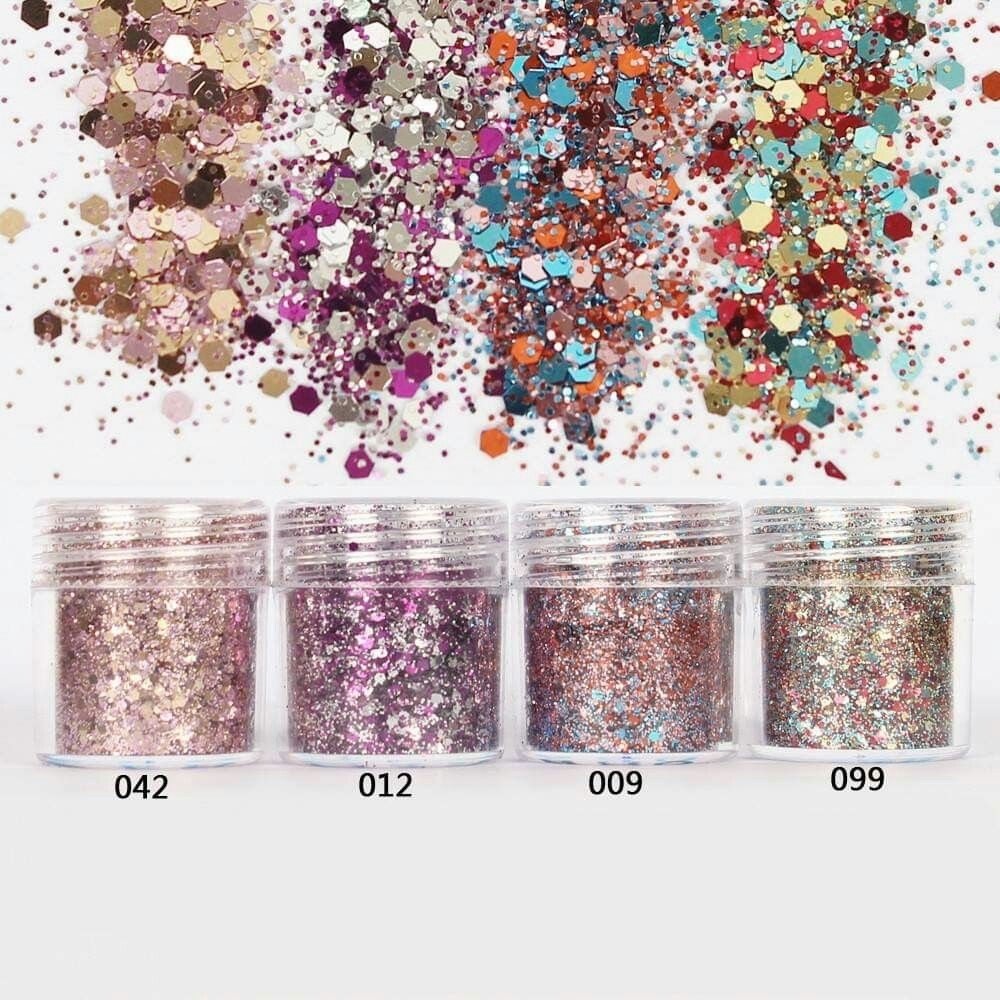 Image 3 - 4pcs/set(4color /set) X10ML mix Nail Art Glitter Powder,0.2mm 1mm 2mm glitter 3D Nail Art Decoration For nail art decoration,45-in Nail Glitter from Beauty & Health