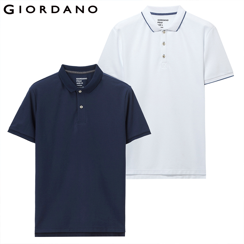 Giordano Homme Polo 2-Pack piqué Slim hommes Polos patte De boutonnage à manches courtes Polo Homme De Marque solide été
