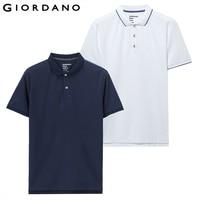 Giordano Men Polo Shirt 2 Pack Pique Slim Mens Polos Button Placket Short Sleeve Polo Shirt Homme De Marque Solid Summer