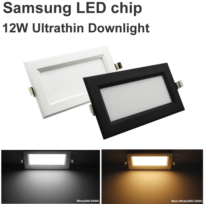 10ks Nový ultratenký čtverec Led Panel 12W 110V 220V Led Downlight Stropní LED lampa Samsung Chip Led Spotlight mřížka zapuštěné světlo