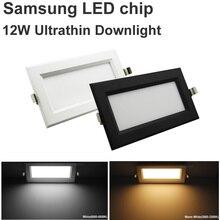 10pcs New Ultrathin Square Led Panel 12W 110V 220V Led Downlight Ceiling Led Lamp Samsung Chip Led Spot Grille Recessed Light