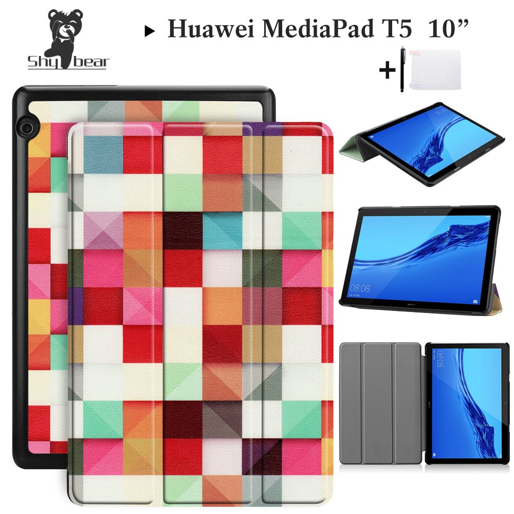 US $8 56 40% OFF|Huawei Case For Huawei MediaPad T5 10'' Cover for Huawei  T5 10 inch AGS2 W09/L09/L03/W19 Silk Printing Tablet 10 1