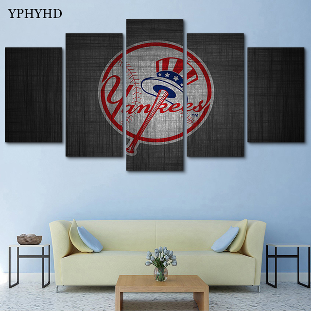 Yphyhd 5 Pieces Modular Wall Paintings Yankees Canvas Painting Print Poster Decor Frame Art Modern Picture
