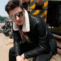 M 5XL!!Fur one piece male jacket fur collar leather clothing men's clothing plus velvet thickening PU leather motorcycle jacket