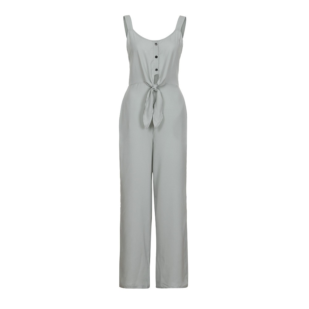 Summer Women Jumpsuits Sexy Bow Backless Off Shoulder V Neck Sleeveless Jumpsuit 2018 Front Sleeveless Loose Rompers
