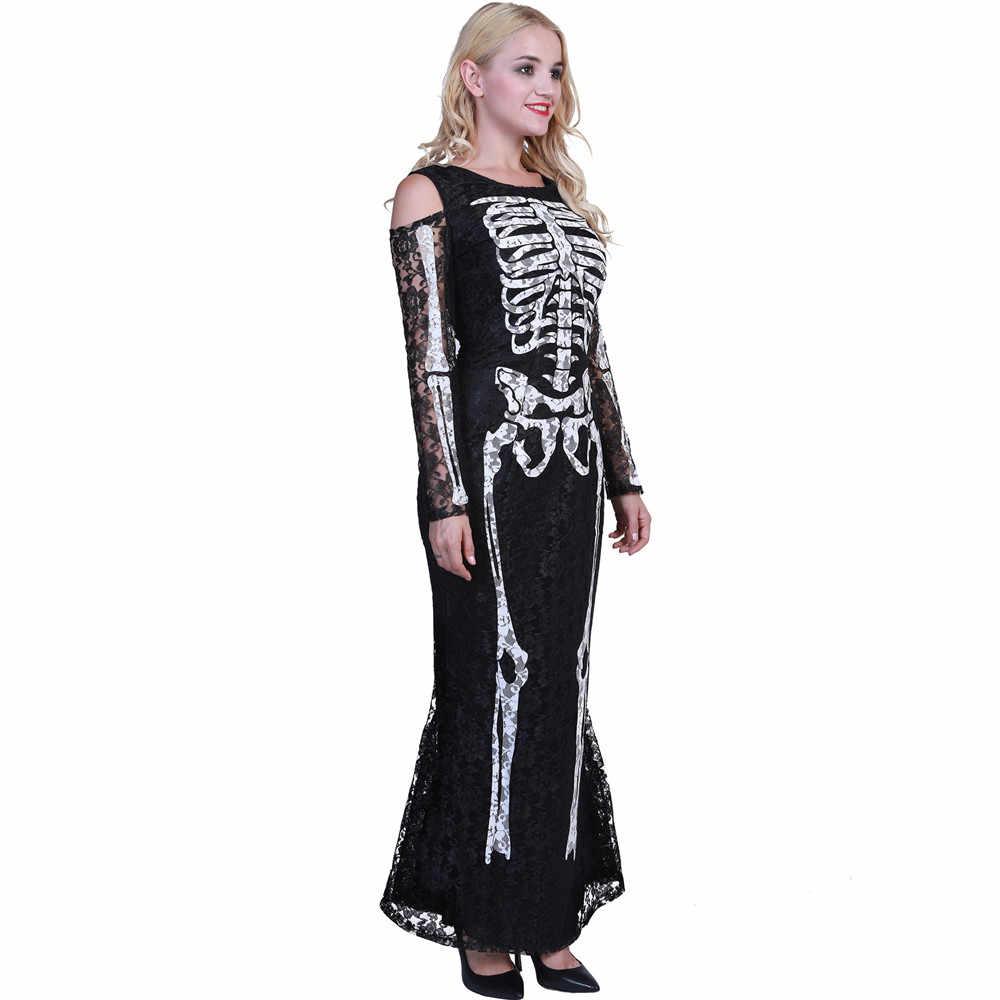Косплей Хэллоуин Пурим карнавальное костюмы ужас кости печати черная длинная юбка волшебник длинное платье костюм вампира для взрослых