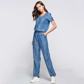 Blue Denim Jumpsuit Womens Long Pants