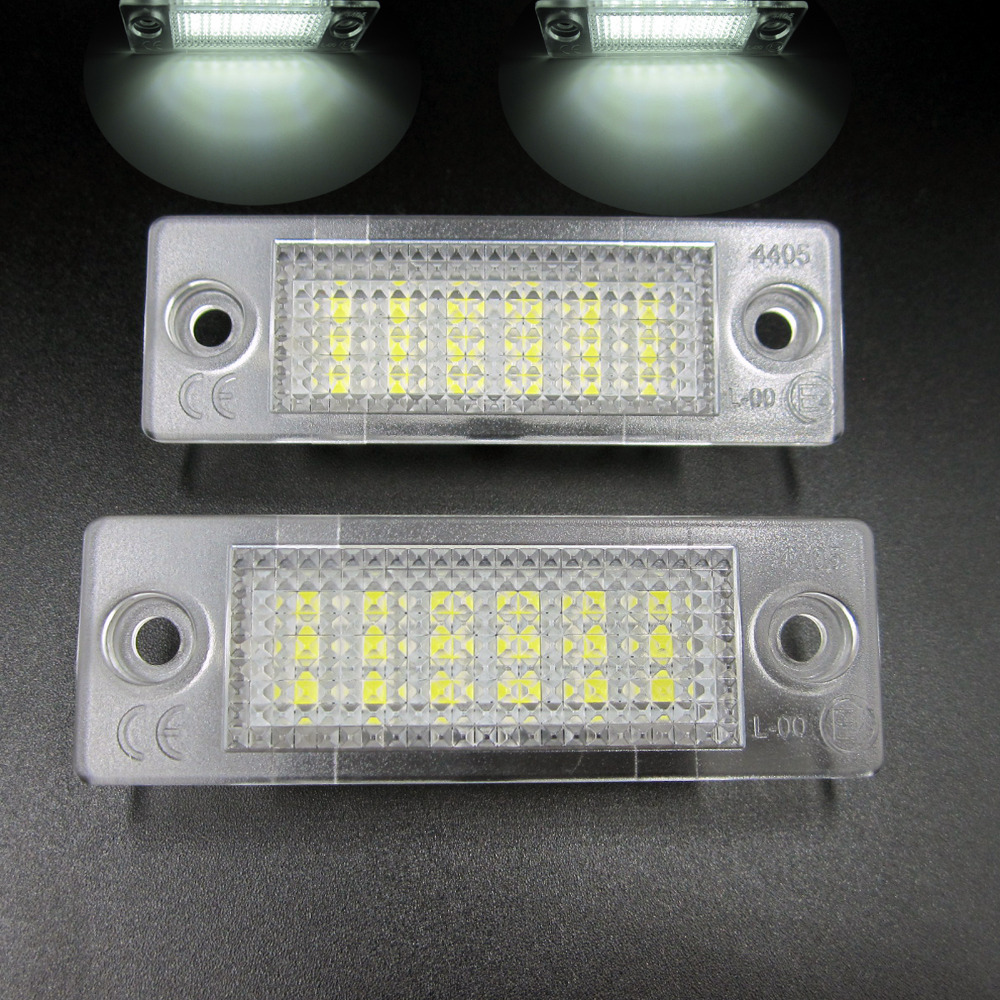 2pcs New18 LED License Number Plate Light Lamp For VW T5 Caddy Golf Passat Touran Free shipping 2x 3smd5050 for volkswagen passat jetta golf plus touran caddy led license number plate light for automotive auto accessories