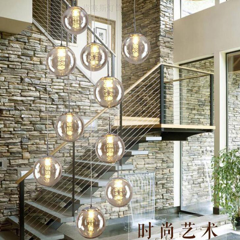 Modern glass ball chandelier staircase lamp double living room lamp LED g4 lighting fixture led lamp Stair chandelier Indoor led handmade glass fringed chandelier restaurant art glass living room bedroom lamp girl model room lamp led lighting fixture led