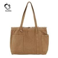 KUJING Ladies' Handbags High quality Large capacity Women Shopping Shoulder Bags Hot Sale Women Bag Fashionable Art Canvas Bags