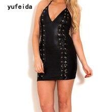 YUFEIDA Faux Leather Black Latex Costumes Womens Sexy Sling Catsuit Fetish Gothic Backless Bodysuit Lingerie Latex Bodysuit