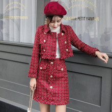 Skirt Suits Women Runway Designer Elegant Office Lady Formal Tweed Red Blazer Jacket Mini 2 Piece Sets 2019 Autumn Winter