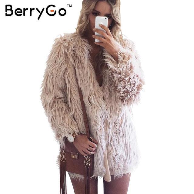 BerryGo Пушистый искусственный мех пальто женщин 2016 теплый chic женская верхняя одежда Черный элегантный осень зима куртки пальто волосатые партия пальто
