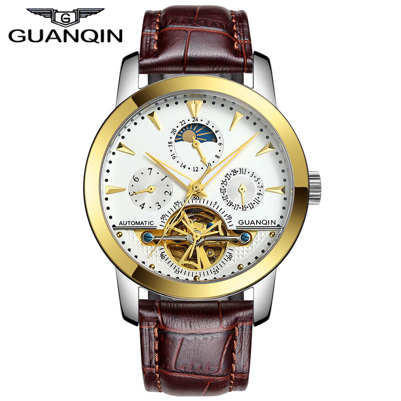 Original GUANQIN Automatic Mechanical Tourbillon Watches Men Leather Strap Sapphire Self-Wind Men Skeleton Wristwatch Gold Clock ailang brand men automatic self wind watches leather skeleton tourbillon mechanical clock male rose gold shell watch new