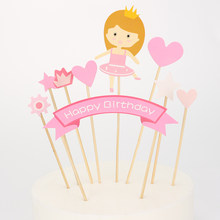 Girl Birthday Party Cake Toppers Toothpick Wrappers Cake Decoration(China)