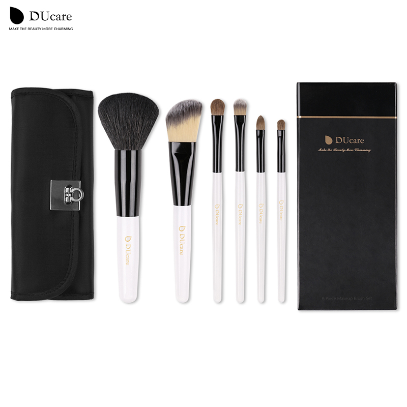 DUcare professional Makeup Brushes Set  6Pcs Cosmetic Goat Hairs Weasel hair  Portable Powder Foundation eye brushes + Black bag 2016 genuine leather women sandals fashion peep toe shoes woman popular mixed color wedges high heels glitter platform shoes