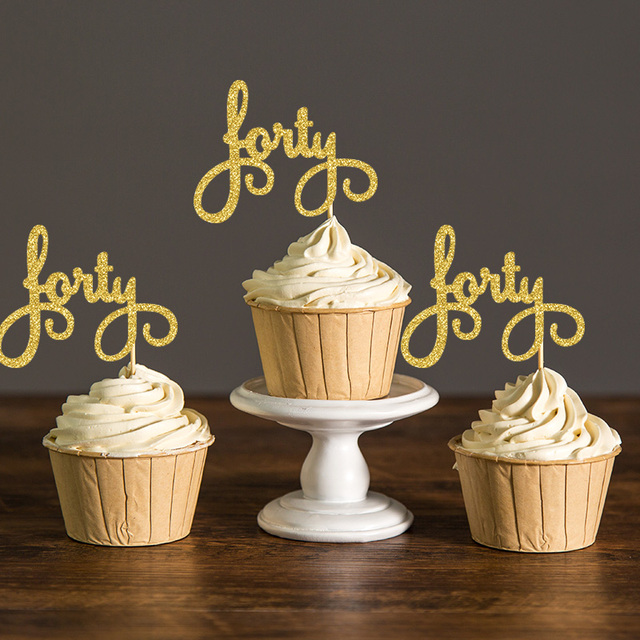 Gold Silver Black Script Forty Birthday Cupcake Toppers Picks 40th Party Decoration Favors Cake Accessory Supplies